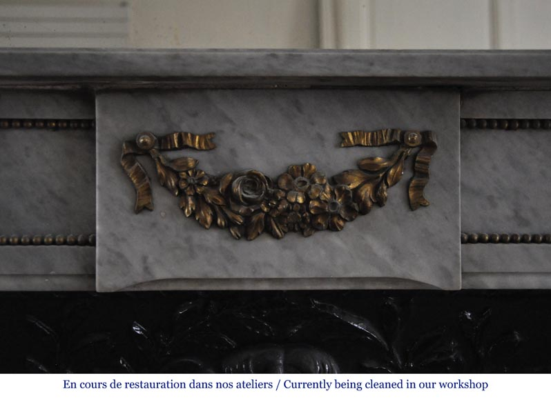 Small antique Louis XVI style fireplace in Blue Turquin marble and gilded bronze ornaments-1