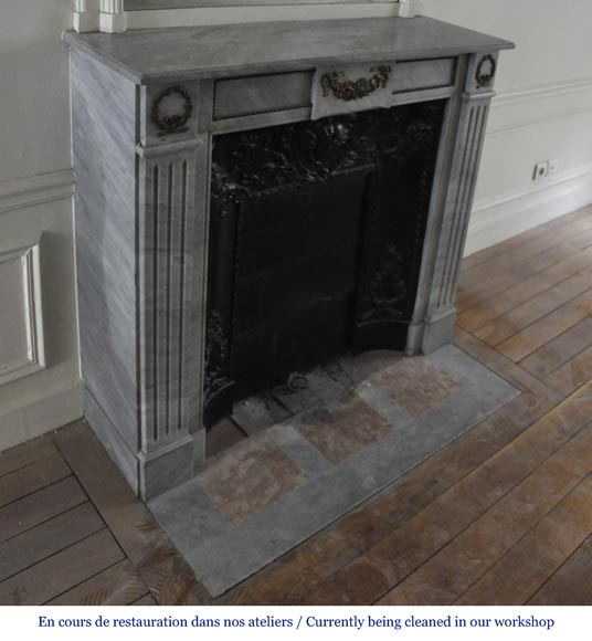 Small antique Louis XVI style fireplace in Blue Turquin marble and gilded bronze ornaments-2