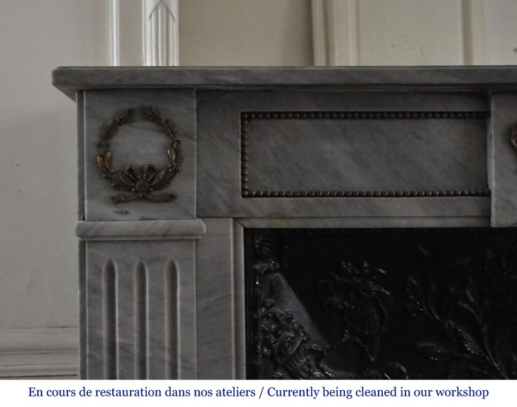 Small antique Louis XVI style fireplace in Blue Turquin marble and gilded bronze ornaments-3