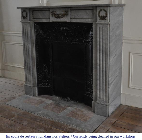 Small antique Louis XVI style fireplace in Blue Turquin marble and gilded bronze ornaments-5