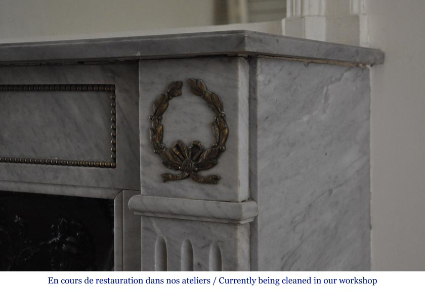 Small antique Louis XVI style fireplace in Blue Turquin marble and gilded bronze ornaments-6