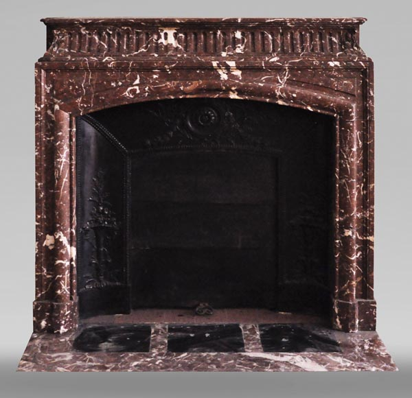 Antique Louis XIV style mantel with acroterion in Rouge Royal marble-0