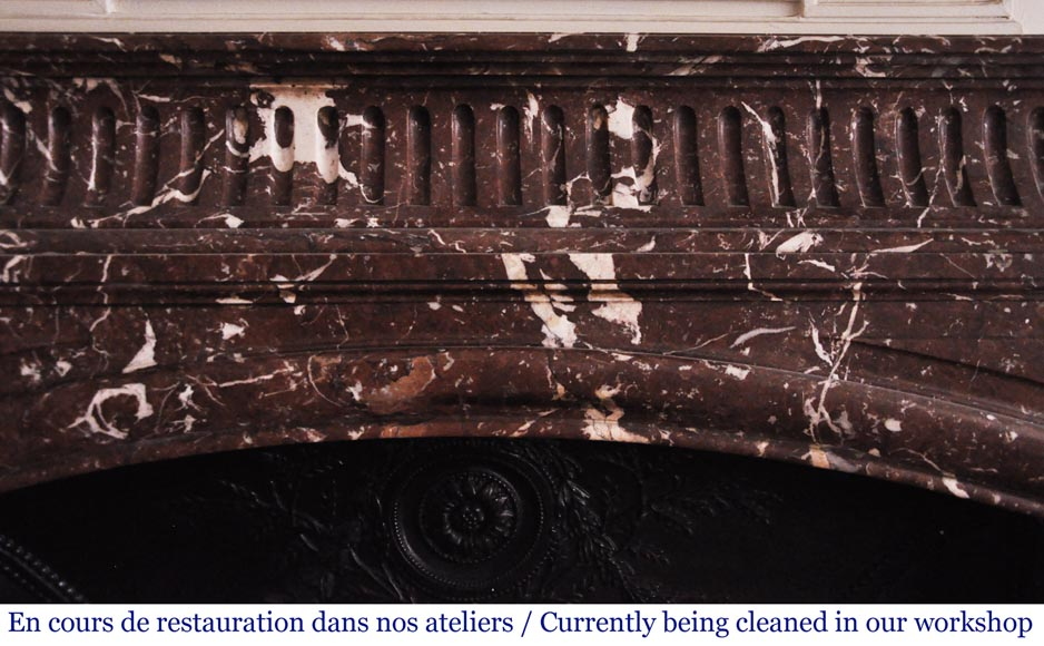 Antique Louis XIV style mantel with acroterion in Rouge Royal marble-1