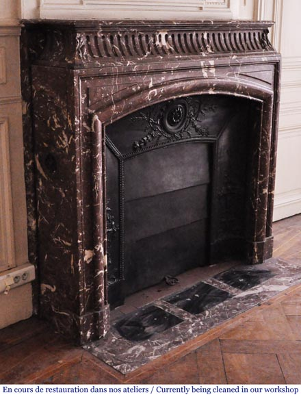 Antique Louis XIV style mantel with acroterion in Rouge Royal marble-2