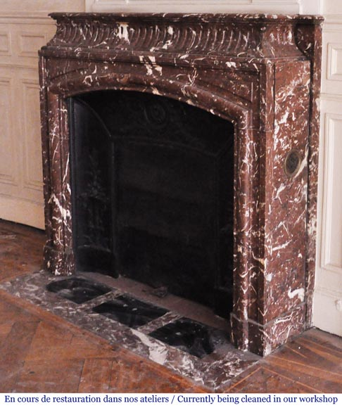 Antique Louis XIV style mantel with acroterion in Rouge Royal marble-5