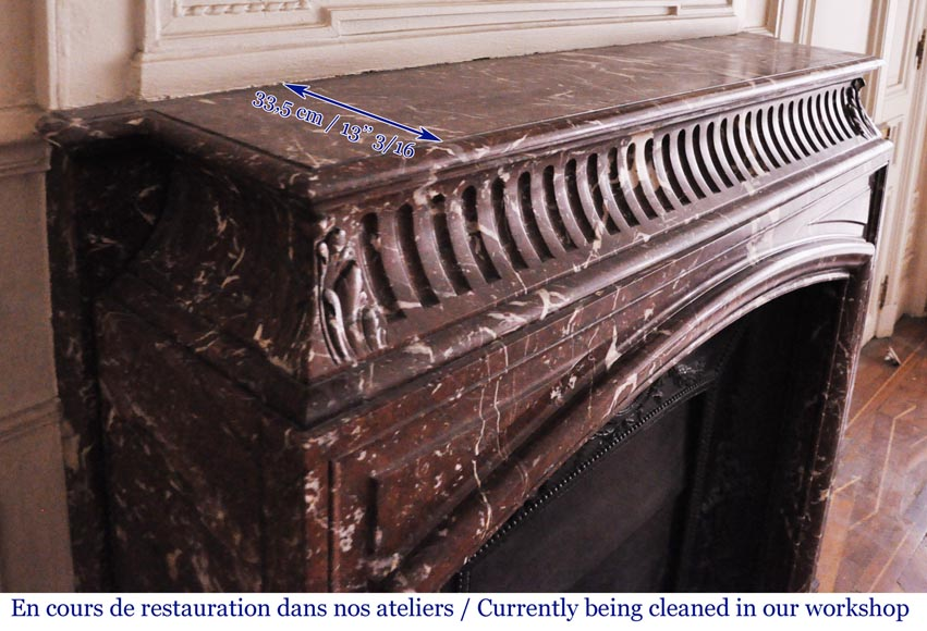 Antique Louis XIV style mantel with acroterion in Rouge Royal marble-7