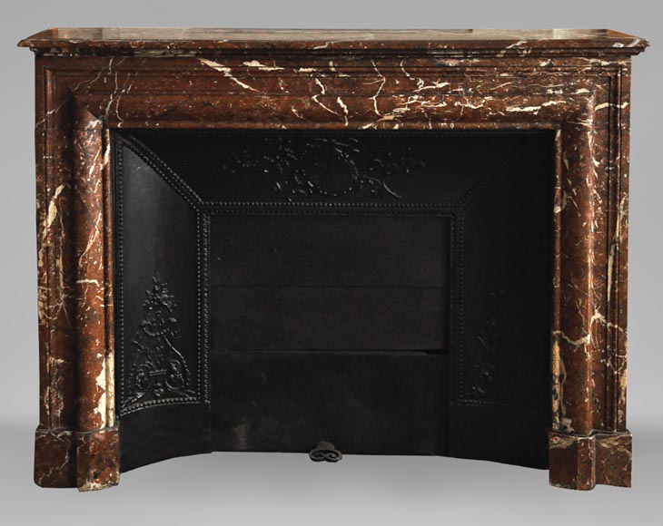 Antique Louis XIV style fireplace in Red from the North marble with its cast iron insert-0