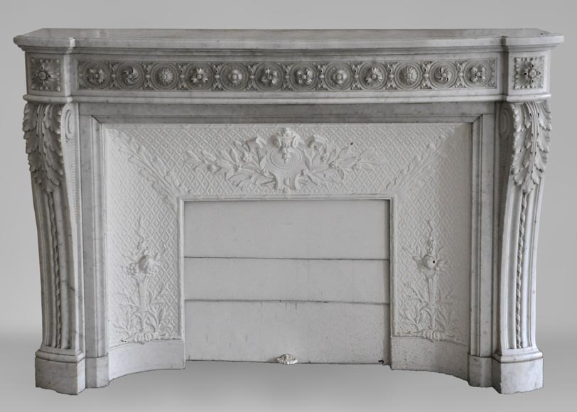 Very beautiful antique Louis XVI style fireplace decorated with carved flowers in medallions in White Carrara marble-0