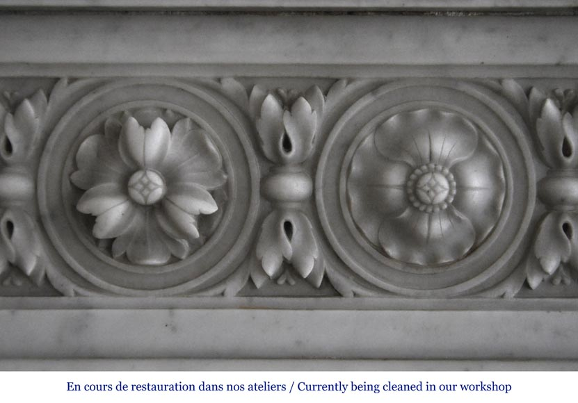 Very beautiful antique Louis XVI style fireplace decorated with carved flowers in medallions in White Carrara marble-2