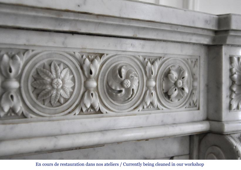 Very beautiful antique Louis XVI style fireplace decorated with carved flowers in medallions in White Carrara marble-3