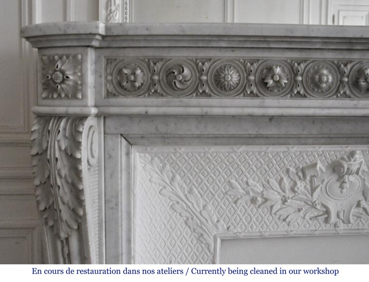 Very beautiful antique Louis XVI style fireplace decorated with carved flowers in medallions in White Carrara marble-5