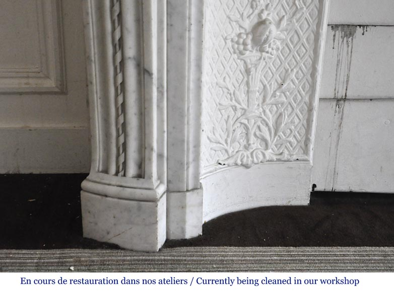 Very beautiful antique Louis XVI style fireplace decorated with carved flowers in medallions in White Carrara marble-6