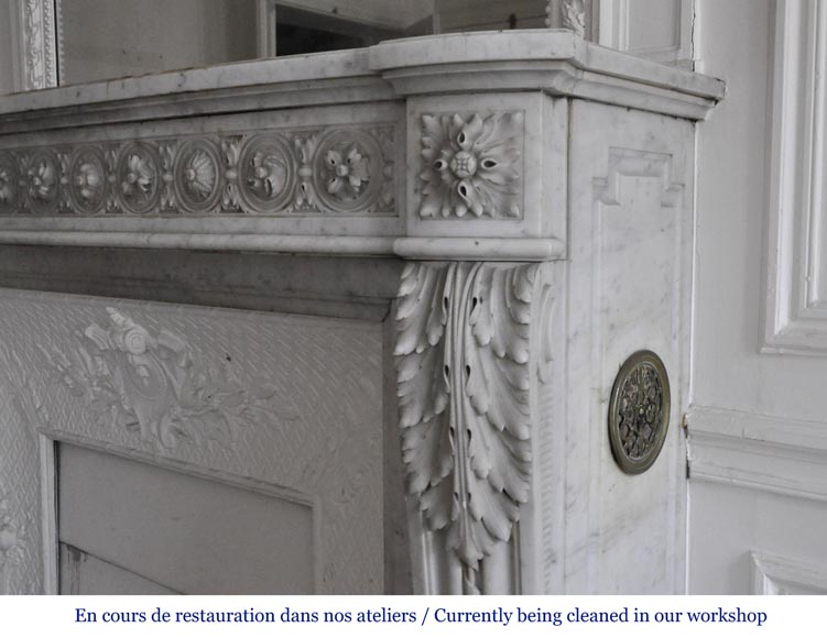 Very beautiful antique Louis XVI style fireplace decorated with carved flowers in medallions in White Carrara marble-8