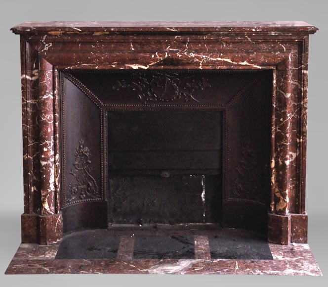 Antique Louis XIV style fireplace in Red from the North marble-0