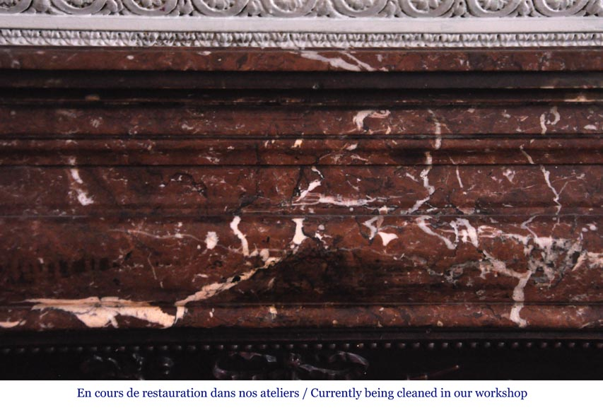 Antique Louis XIV style fireplace in Red from the North marble-1