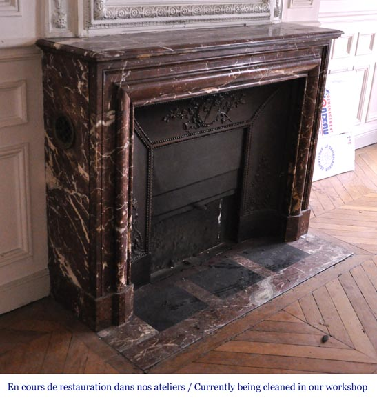Antique Louis XIV style fireplace in Red from the North marble-2