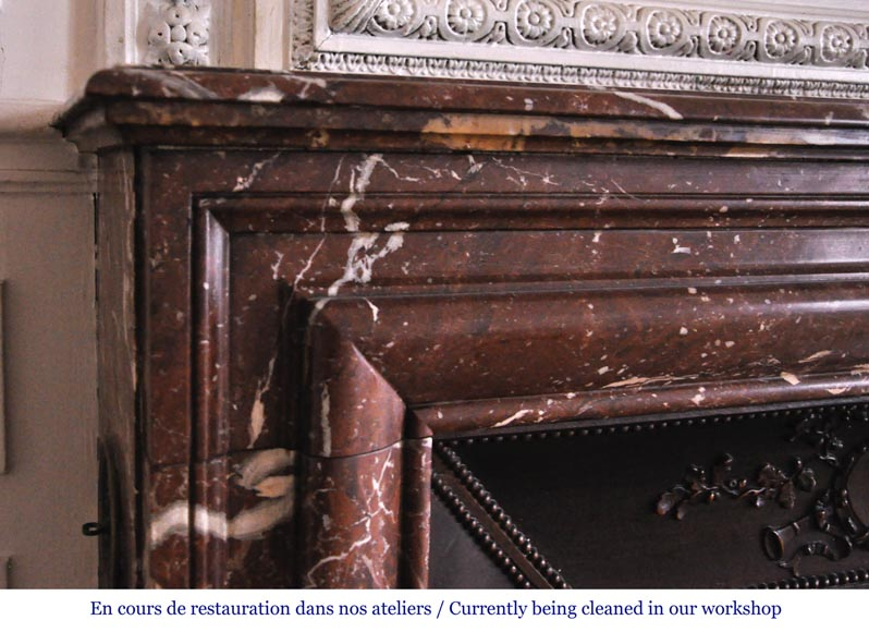 Antique Louis XIV style fireplace in Red from the North marble-3