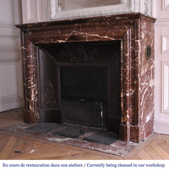Antique Louis XIV style fireplace in Red from the North marble-5