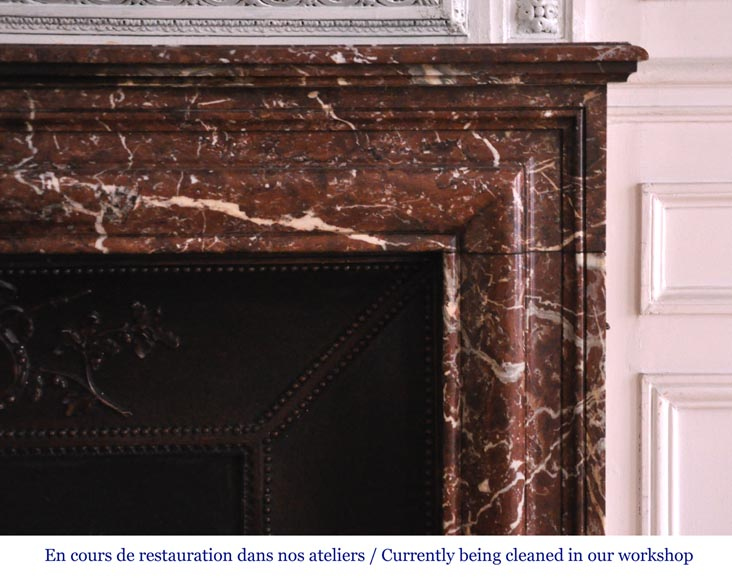 Antique Louis XIV style fireplace in Red from the North marble-6