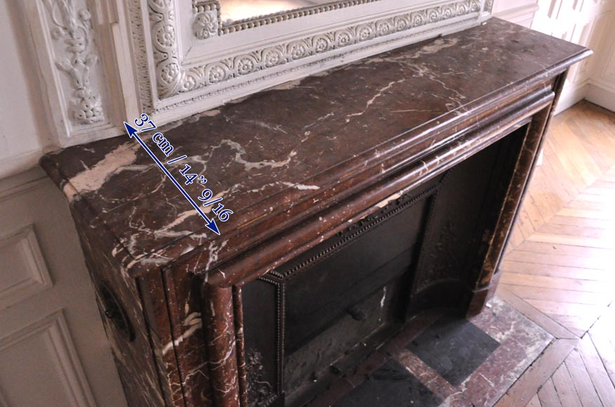 Antique Louis XIV style fireplace in Red from the North marble-9