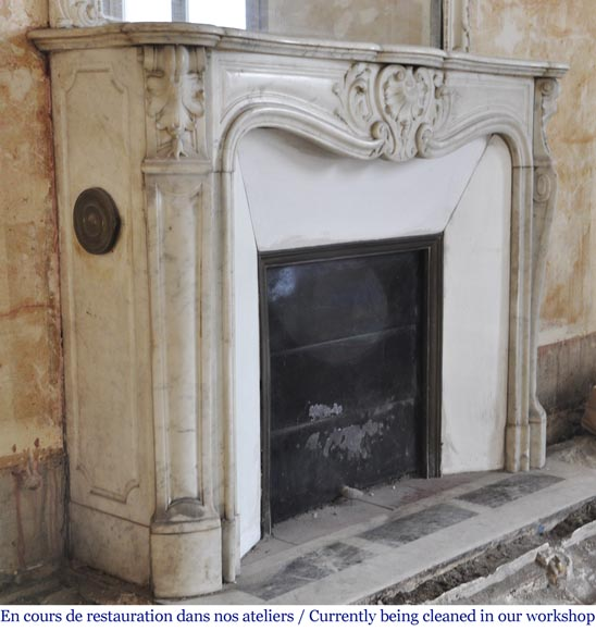 Antique Louis XV style fireplace in Carrara marble-3