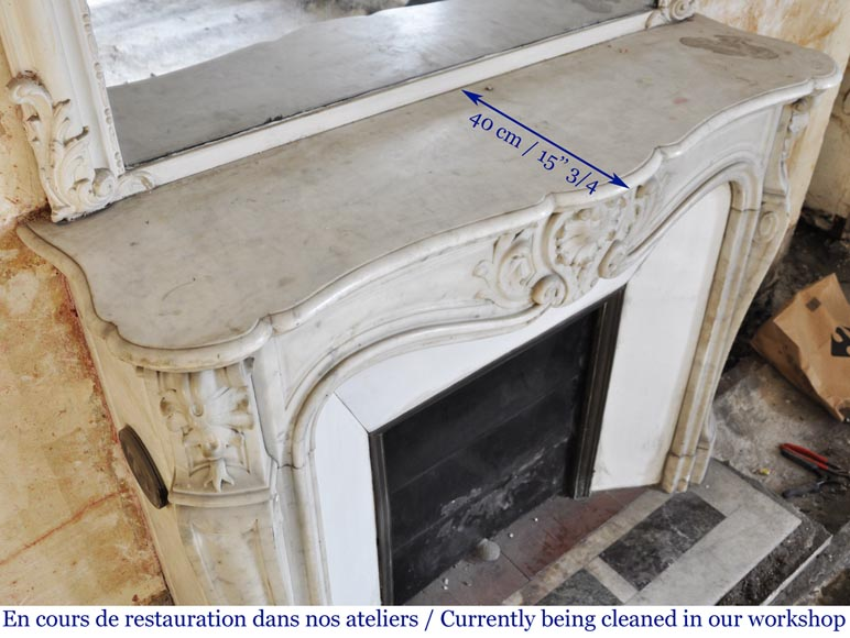 Antique Louis XV style fireplace in Carrara marble-9