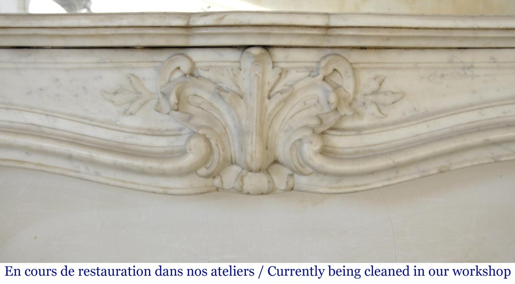 Antique Louis XV style fireplace in Carrara marble-1