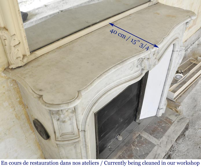 Antique Louis XV style fireplace in Carrara marble-8