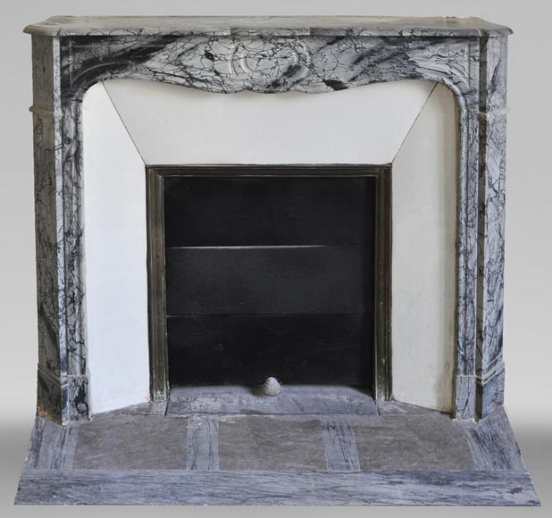 Antique Louis XV style Pompadour fireplace in Blue FLeuri marble-0