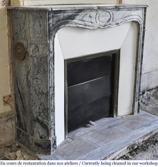 Antique Louis XV style Pompadour fireplace in Blue FLeuri marble-2