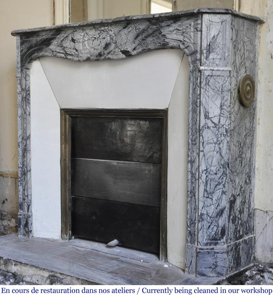 Antique Louis XV style Pompadour fireplace in Blue FLeuri marble-5