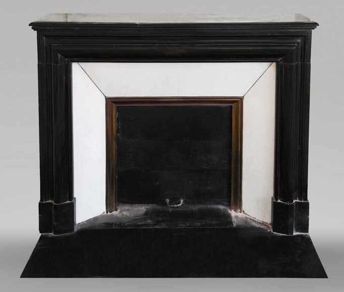 Antique Louis XIV style fireplace in Noir Fin de Belgique marble-0