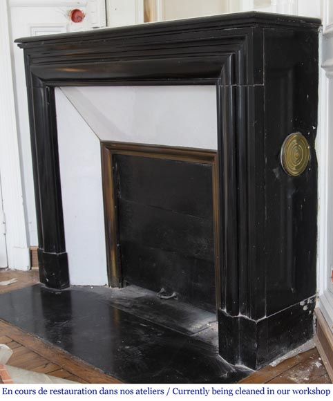Antique Louis XIV style fireplace in Noir Fin de Belgique marble-5