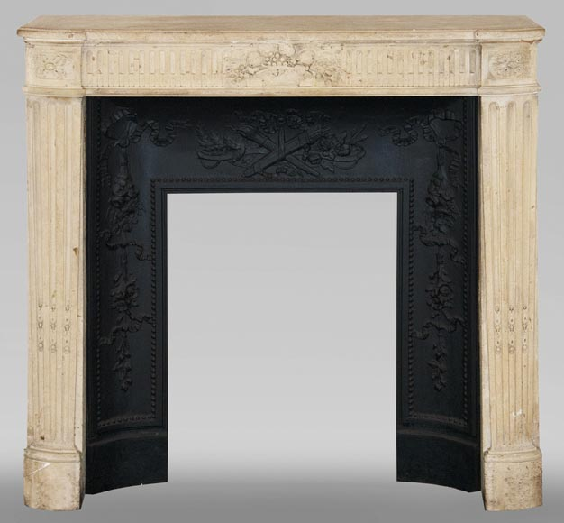 Antique Louis XVI style stone fireplace with fruit basket-0