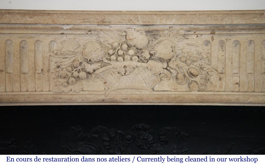 Antique Louis XVI style stone fireplace with fruit basket-1