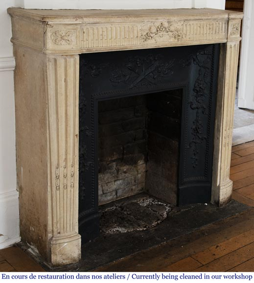 Antique Louis XVI style stone fireplace with fruit basket-3