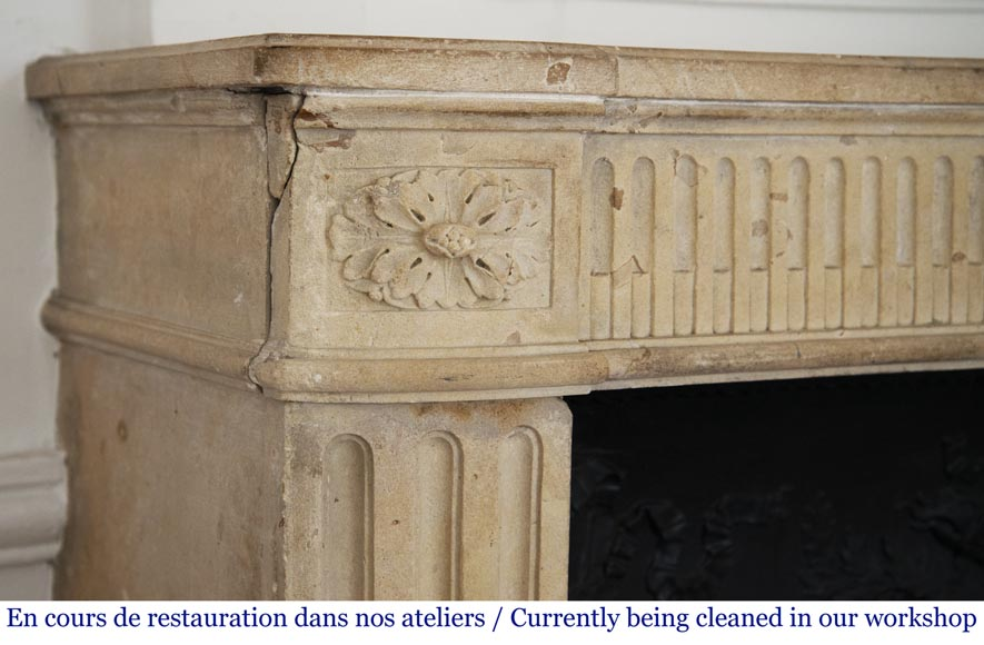 Antique Louis XVI style stone fireplace with fruit basket-4