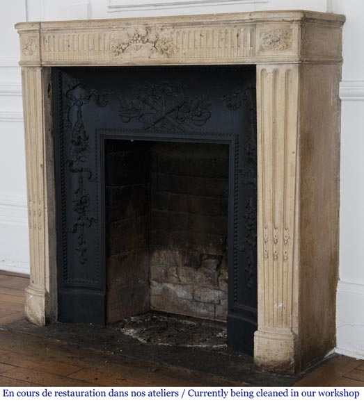 Antique Louis XVI style stone fireplace with fruit basket-7