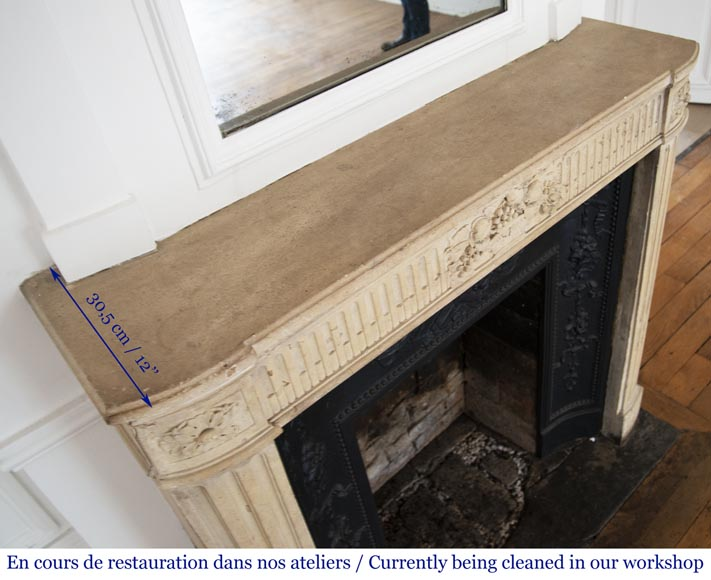 Antique Louis XVI style stone fireplace with fruit basket-11