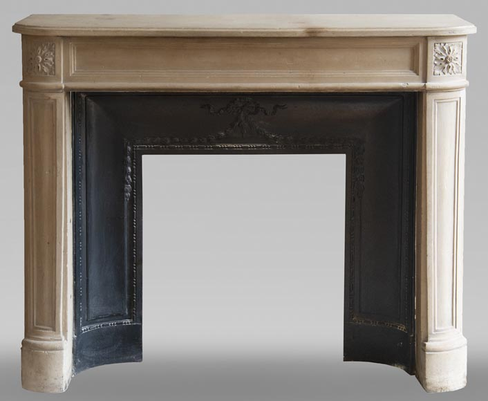 Antique Louis XVI style slightly curved stone fireplace-0