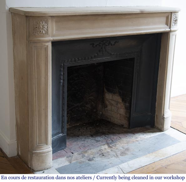 Antique Louis XVI style slightly curved stone fireplace-2