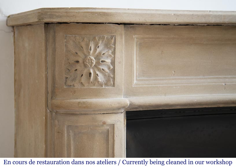Antique Louis XVI style slightly curved stone fireplace-3
