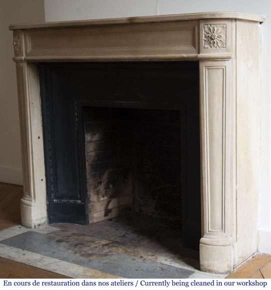 Antique Louis XVI style slightly curved stone fireplace-5