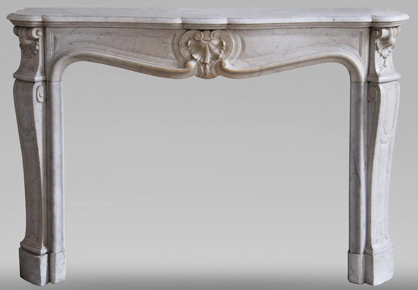 Antique Louis XV style fireplace with three shells in Carrara marble-0
