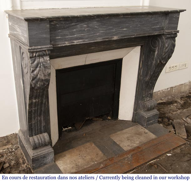 Antique Restoration style fireplace in Bleu Turquin marble-2