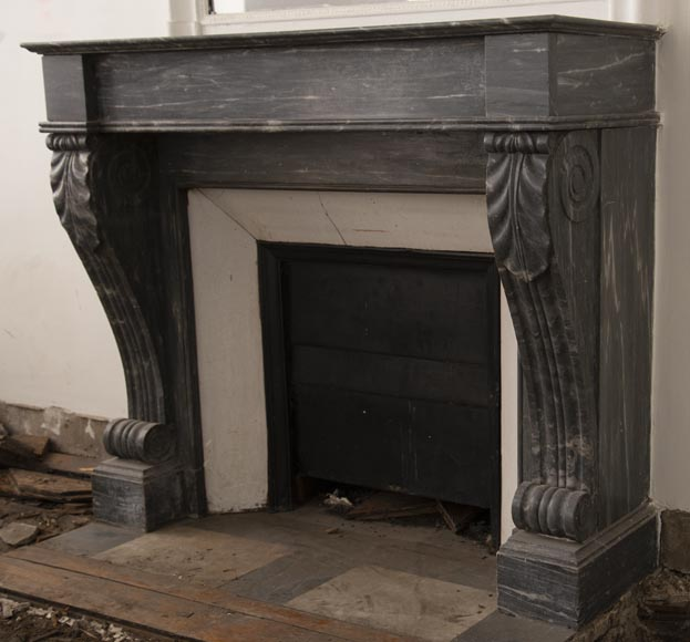 Antique Restoration style fireplace in Bleu Turquin marble-6