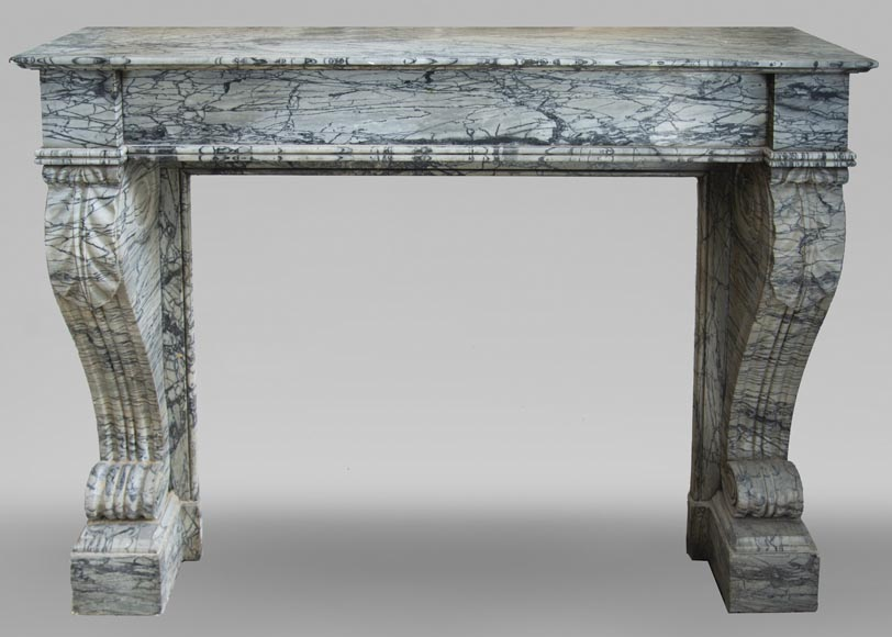Antique Restoration style fireplace mantel in Bleu Fleuri marble-0