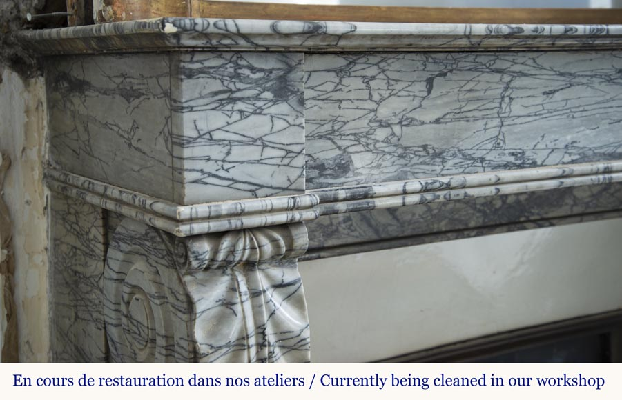 Antique Restoration style fireplace mantel in Bleu Fleuri marble-3