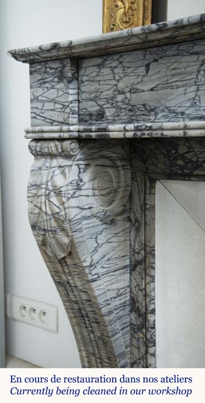 Antique Restoration style fireplace mantel in Bleu Fleuri marble-5