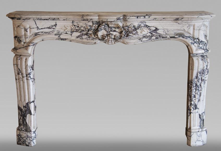 Antique Louis XV style fireplace in Serravezza marble-0